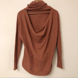 Express Cowl Neck Open Back Knit Top